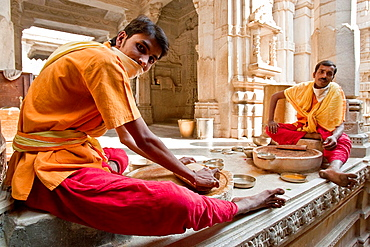 Young Monks Making Incense Sticks, The Jain Temple at Ranakpur, Rajasthan, India