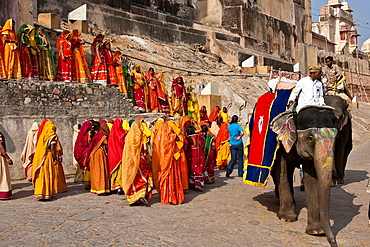 Indian Women in Colourful Dress Outside The Amber Fort near Jaipur, Rajasthan, India