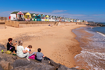 The beach with beach huts at Southwold , Suffolk , England , Britain , Uk