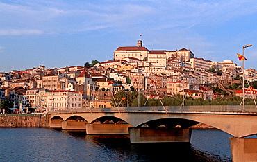 Santa Clara bridge over Mondego River and old town, Coimbra, Beira Litoral, Portugal