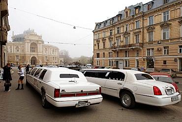 Rishelievskaya Street and Odessa Opera and Ballet Theater in background, Odessa, Ukraine