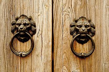 Doorknockers in Nan Lou Gu Xiang Hutong, Beijing, China, Asia