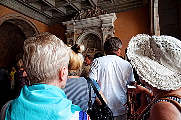 Tourists visiting Montserrat monastery Catalonia, Spain