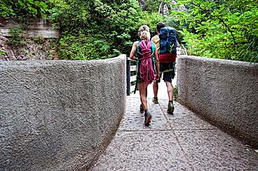 Climbers in Montserrat monastery Catalonia, Spain
