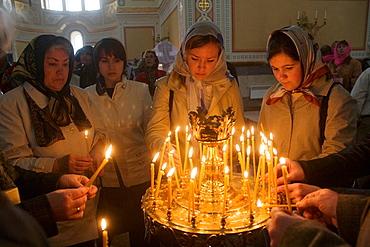 Easter holiday celebration in St, Vladimir's cathedral, Chersonesos, Crimea, Ukraine