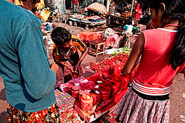 Red coloured pigments stall, Calcutta, West Bengal, India