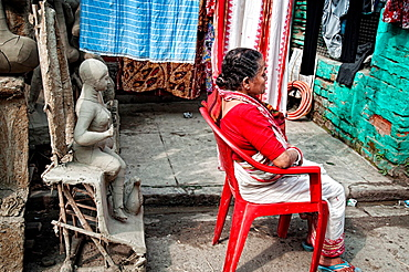 Effigies of gods in a workshop in Kumartuli district, Calcutta, West Bengal, India