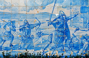 'Azulejo' tiles in the Miradouro Santa Luzia depicting Crusaders, Lisbon, Portugal