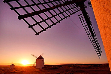 Spain-Castilla La Mancha- Ciudad Real- the famed Quioxote wind mills at Campo de Criptana.