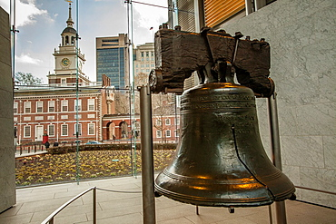The Liberty Bell and Independence Hall in the back ground at at Philadelphia's Independence National Historic Site