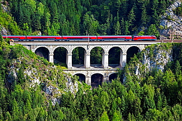 Passenger train on the Krausel-Klause Viaduct, UNESCO World Heritage Site, built 1848-1854