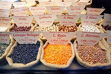pulses, Santa Catalina Market, Santa Catalina, Palma, Mallorca, Balearic Islands, Spain