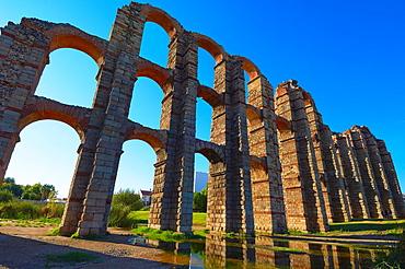 Los Milagros aqueduct, Emerita Augusta, Merida, Silver Route, UNESCO World Heritage site, Via de la Plata, Badajoz province, Extremadura, Spain
