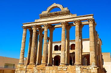 Ruins of Diana´s temple in the old Roman city Emerita Augusta, Silver Route, Mérida UNESCO World Heritage site, Via de la Plata, Badajoz province, Extremadura, Spain