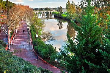 Roman bridge and Guadiana river in Merida. Badajoz. Extremadura. Spain.