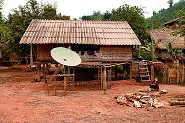 satellite dish in rural Khmu village, Luang Nam Tha, Laos
