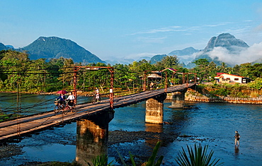 bridge over the Nam Song River in Vang Vieng, Laos