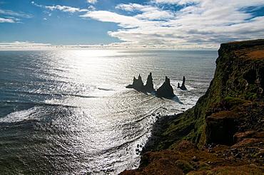 Reynisdrangar sea stack column in Vik, southern Iceland