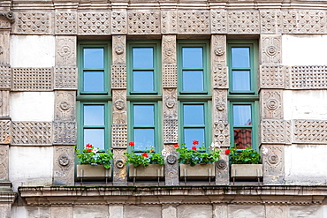 Close up of a house facade in Hamelin on the German Fairy Tale Route, Lower Saxony, Germany, Europe