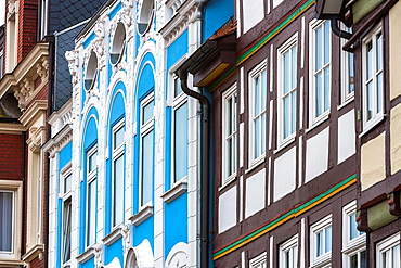 Details of beautiful timbered houses in Hamelin on the German Fairy Tale Route, Lower Saxony, Germany, Europe