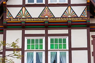 Detail of a beautiful timbered house in Hamelin on the German Fairy Tale Route, Lower Saxony, Germany, Europe