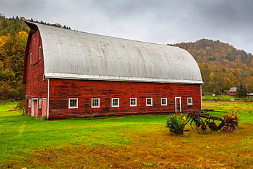 Picturesque red barn in North Randolph in Vermont, USA