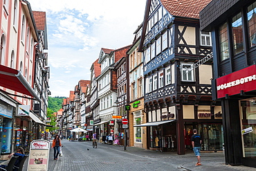 Row of timbered houses in Hannoversch Muenden on the German Fairy Tale Route, Lower Saxony, Germany, Europe