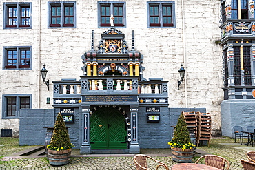 Close up of the portal of the city hall in Hannoversch Muenden on the German Fairy Tale Route, Lower Saxony, Germany, Europe