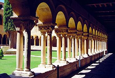 Romanesque cloister. Monastery of Santo Domingo de Silos, Burgos province, Castilla Leon, Spain.