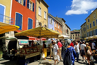 Provencal market at Buis-les-Baronnies, Drome department, region of Rhone-Alpes, France, Europe
