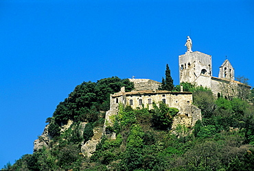 Knights Templar Tower overlooking the village of ClansaImage Available For Editorial Use Only, Drome department, region of Rhone-Alpes, France, Europe