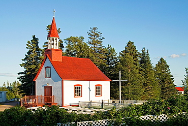 chapel of Ilets-Jeremie, Saint-Lawrence River bank, Cote-Nord region, Quebec province, Canada, North America