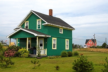 wooden house of Cap aux Meules island, Magdalen Islands, Gulf of Saint Lawrence, Quebec province, Canada, North America