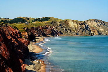 Firmin cove, Cap Alright, Havre aux Maisons island, Magdalen Islands, Gulf of Saint Lawrence, Quebec province, Canada, North America