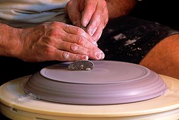 potter's wheel, Poterie de la Forge, Abreschuiller, Moselle department, Lorraine region, France, Europe