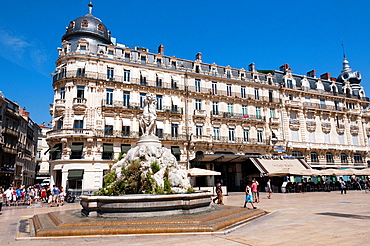 Europe, France, Languedoc-Roussillon, Place de la Comedie in the centre of Montpellier