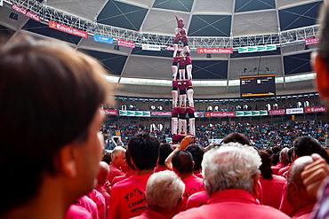 Castellers de Lleida 'Castellers' building human tower, a Catalan tradition Biannual contest bullring Tarragona, Spain