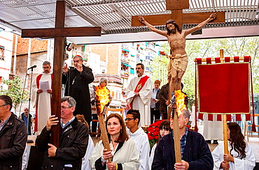 Representation, Way of the Cross, chaired by Cardinal and Archbishop of Barcelona Lluis Martinez Sistach, Good Friday, Easter week, `la marquesina, Via Julia, Barcelona, Catalonia, Spain