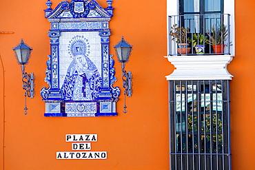 Detail of facade in Plaza del Altozano,Triana quarter, Sevilla, Andalucia, Spain