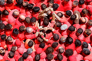 Colla Joves Xiquets de Valls 'Castellers' building human tower, a Catalan tradition Valls Tarragona province, Spain