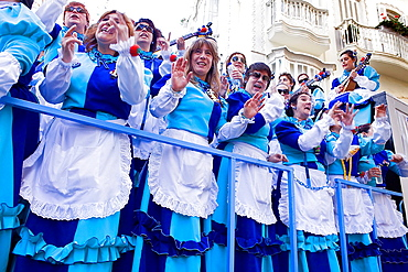Carnival Parade of choirs in Calle Ancha Cadiz, Andalusia, Spain