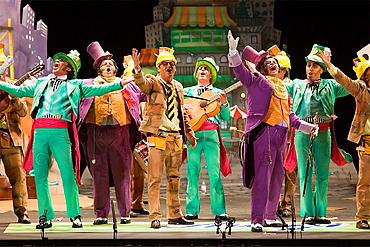 Carnival Great Theater Falla Comparsa singing Cadiz, Andalusia, Spa