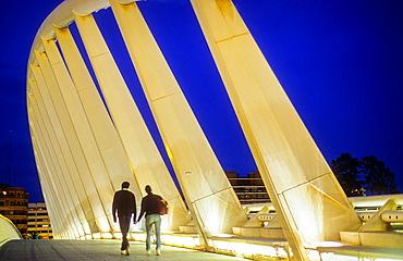Exposure Bridge by Santiago Calatrava, in Jardi Garden del Turia,Valencia,Spain