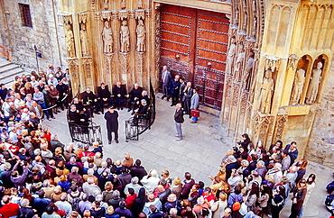 Meeting of the 'Tribunal de las Aguas' Water Court at the Puerta de los Apostoles Door of the Apostles ,Cathedral,Valencia,Spain