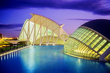 The Hemisferic and the Principe Felipe Sciences Museum,City of Arts and Sciences, by S Calatrava Valencia Spain