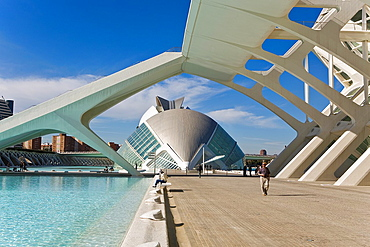 Principe Felipe Sciences Museum and The Hemisferic, City of Arts and Sciences, by S Calatrava Valencia Spain