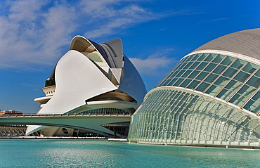 At right Hemisferic and at left Palacio de las Artes Reina Sofia, City of Arts and Sciences, by S Calatrava Valencia Spain