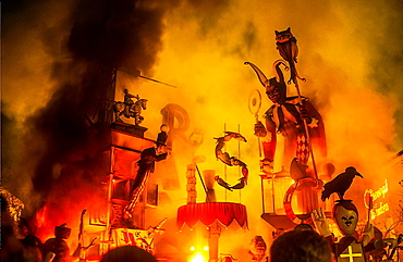 Falla of Na Jordana burning,by Manolo Martin,Fallas Festival, Valencia,Spain
