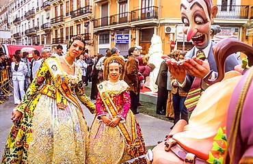 Falleras posing in Falla of Jerusalen,Fallas festival,Valencia,Spain