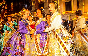 emotionalism,`Falleras' crying after the last falla burned ,Plaza del Ayuntamiento, Fallas festival,Valencia,Spain